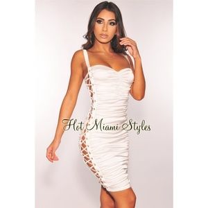 Hot Miami Styles White Satin Ruched Lace Up Dress
